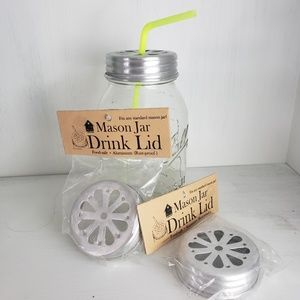 Mason Jar Drink Lid for Straw / Candle Lid (2)